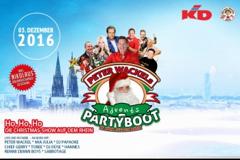 Advent Party Boot auf dem Rhein